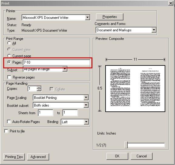 인쇄범위 설정 스크린샷
