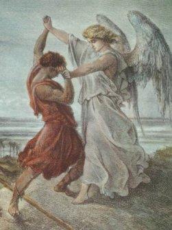 천사와 씨름하는 야곱 (구스타브 도레, 1855)