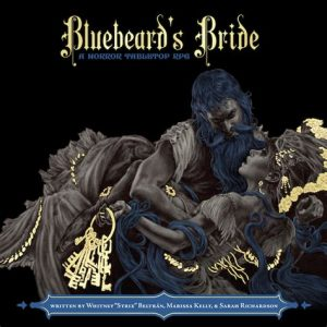 "The cover incribed with the letters ""Bluebeard's Bride,"" under which is a woman holding a ring of keys caught in the arms of a man with a blue beard."